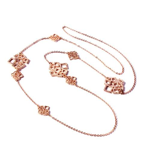 Amrita Singh Rose Gold-Tone Brass Station Necklace With Embellishments