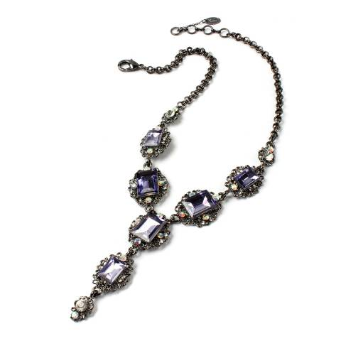 Amrita Singh Crystal Necklace With 3-Stone Drop.