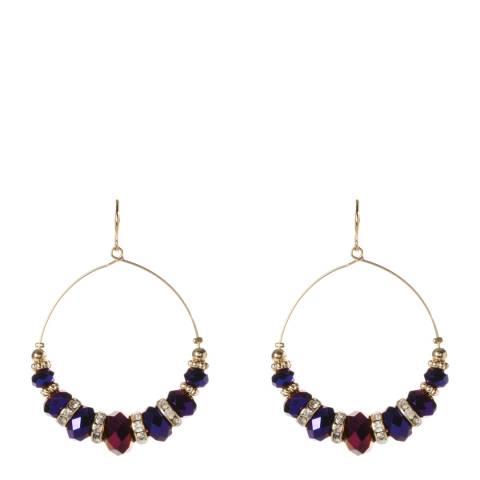 Amrita Singh Circular Earrings With Metallic Faceted Glass Stones.
