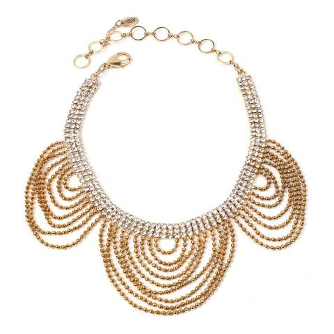 Amrita Singh Gold-Tone Brass Scalloped Choker/Collar Necklace With Austrian Crystals