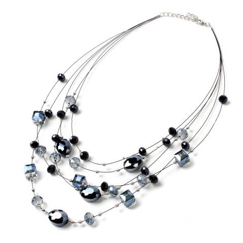 Amrita Singh Multi-Layer Stainless Steel Necklace With Crystal Glass Beads.