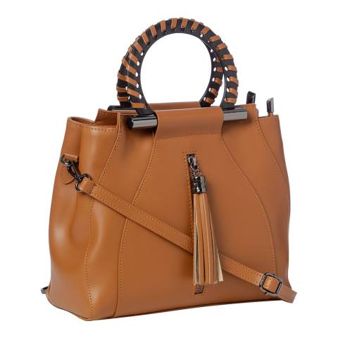 Marco Chiarini Brown Leather Top Handle Bag