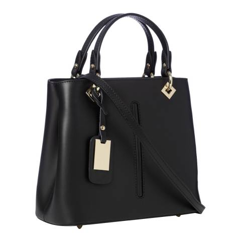 Marco Chiarini Black Leather Top Handle Bag