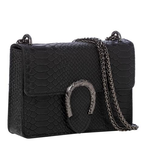 Marco Chiarini Black Leather Snake Print Horseshoe Shoulder Bag