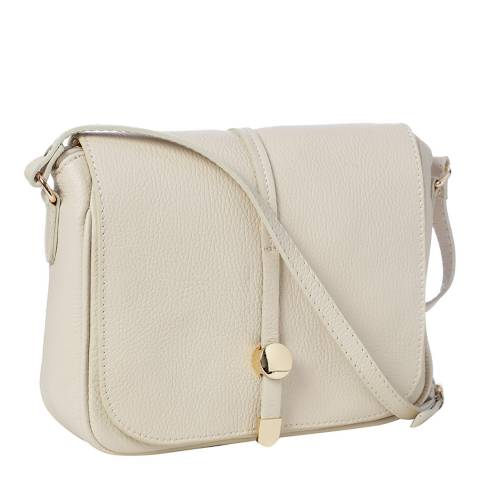 Marco Chiarini Cream Leather Flap Over Shoulder Bag