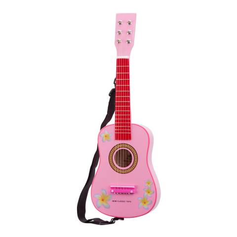 New Classic Toys Pink Guitar With Flowers