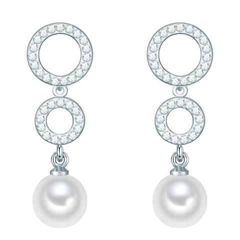 Nova Pearls Copenhagen Silver Plated/White Round Organic Pearl Drop Earrings