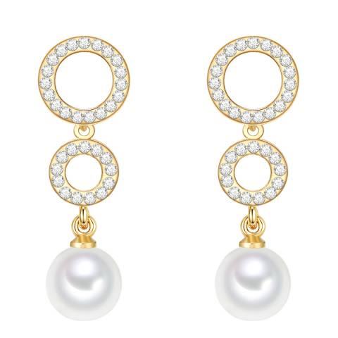 Nova Pearls Copenhagen Gold Plated/White Round Organic Pearl Drop Earrings
