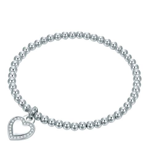 Tassioni Silver Plated Heart Charm Bracelet