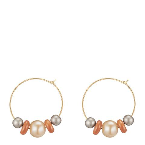 Runway Gold Beaded Hoop Earrings