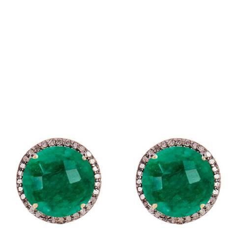 Liv Oliver 18K Gold Emerald and Multi Diamonds Halo Stud Earrings