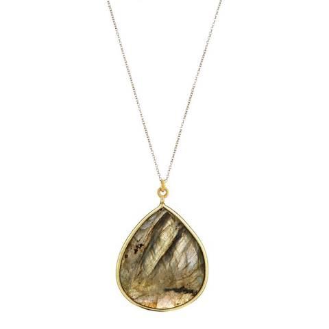 Liv Oliver 18K Gold Labradorite Pear Shape Necklace