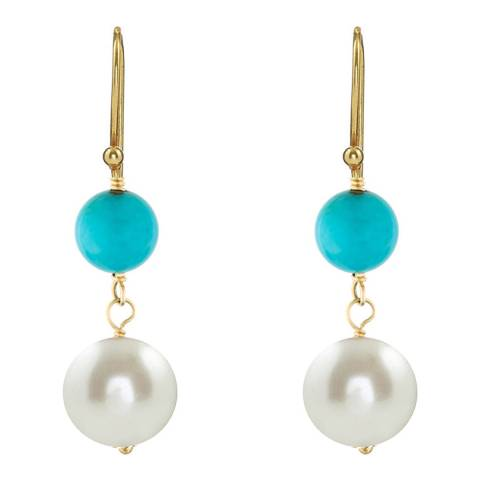 Liv Oliver 18K Gold Aqua Turquoise And Pearl Drop Earrings
