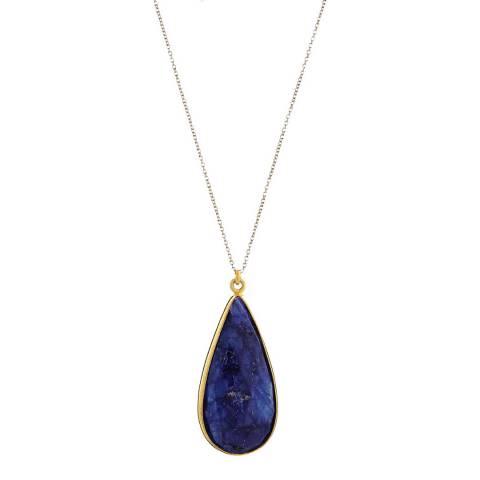 Liv Oliver 18K Gold Sapphire Pear Drop Pendant Necklace
