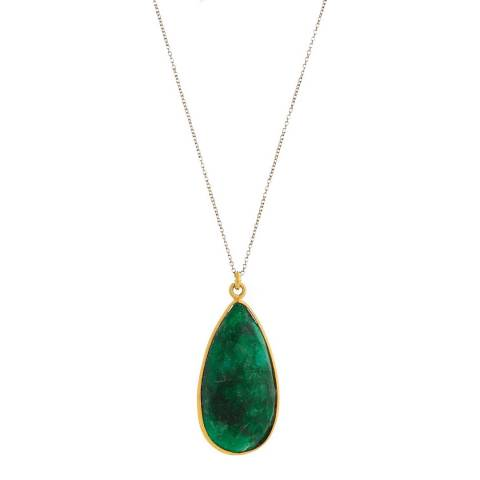 Liv Oliver 18K Gold Plated Emerald Pear Drop Pendant Necklace