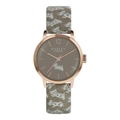 Radley Folk Dog Print Leather Watch