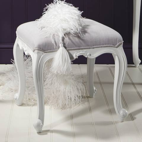 Gallery Chic Dressing Stool, Vanilla White