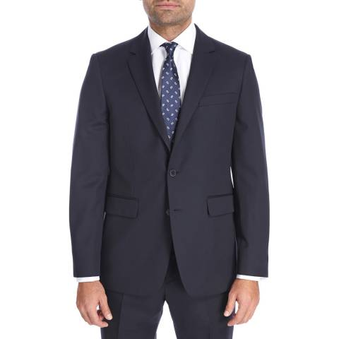 Jaeger Navy Regular Plain Twill Wool Blend Jacket