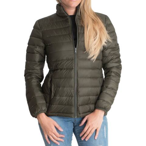 Harvey & Jones Khaki Jenny Funnel Neck Lightweight Down Jacket
