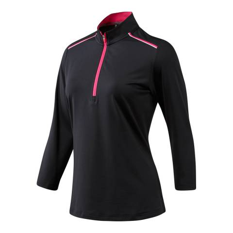 Adidas Golf Black Quarter Sleeve Zip Polo