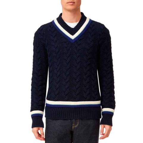 Kent & Curwen Navy Woodvale Cricket V Neck Jumper