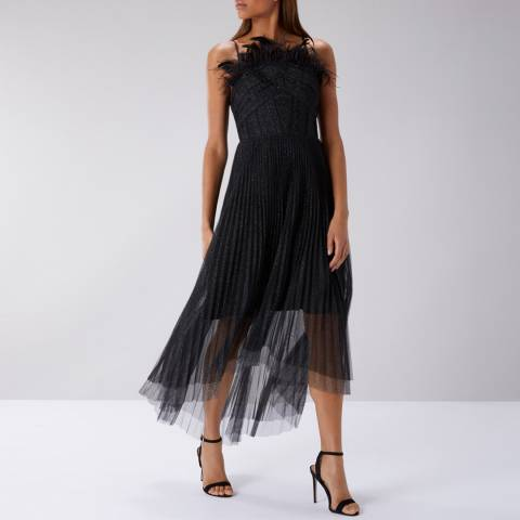 Coast Black Coupe Tulle Dress
