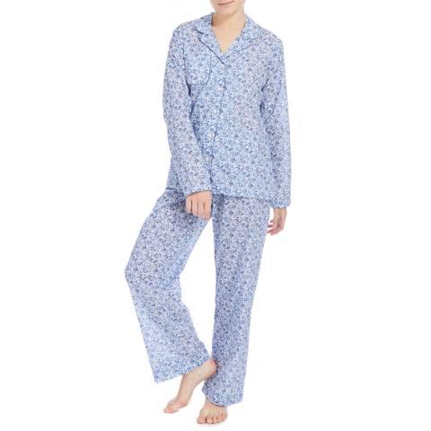 DEREK ROSE Blue Floral Dixi Classic Pyjama Set