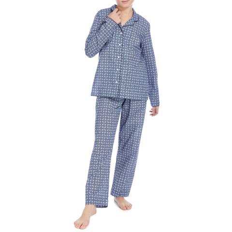 DEREK ROSE Blue Print Ledbury Classic Pyjama Set