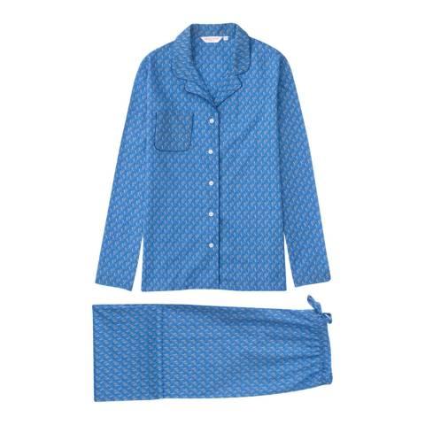 DEREK ROSE Blue Mix Ledbury Classic Pyjama Set