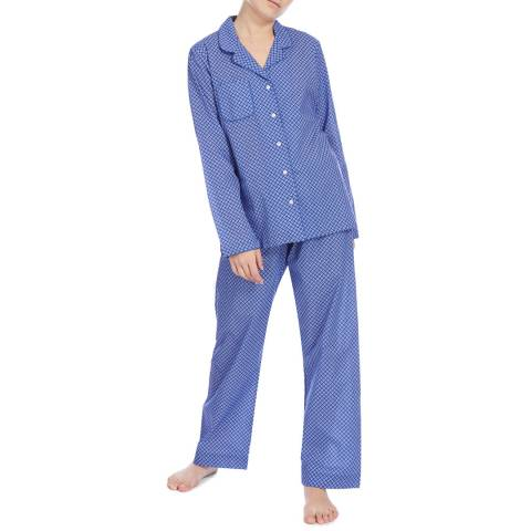 DEREK ROSE Navy Ledbury Classic Pyjama Set