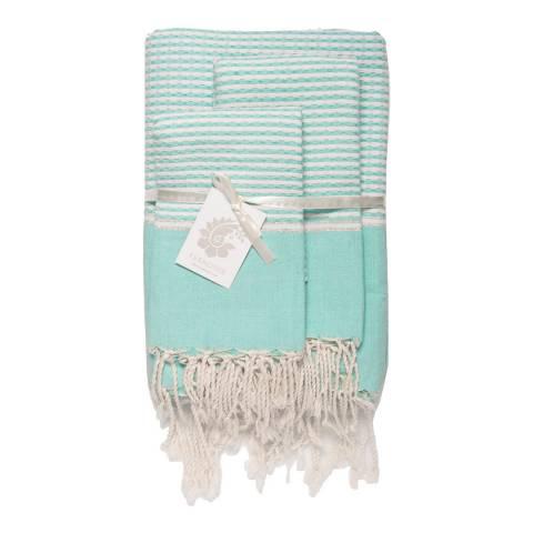 Febronie Copenhagen Set of 3 Bathroom Hammam Towels, Aqua