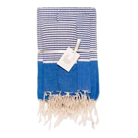 Febronie Copenhagen Set of 3 Bathroom Hammam Towels, Greek Blue
