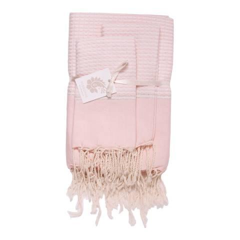 Febronie Copenhagen Set of 3 Bathroom Hammam Towels, Pale Pink