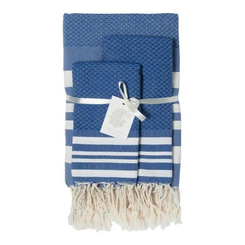 Febronie Hamptons Set of 3 Bathroom Hammam Towels, Greek Blue
