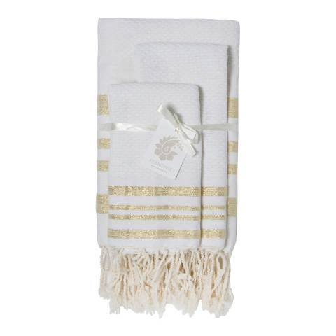 Febronie Hamptons Set of 3 Bathroom Hammam Towels, White/Gold
