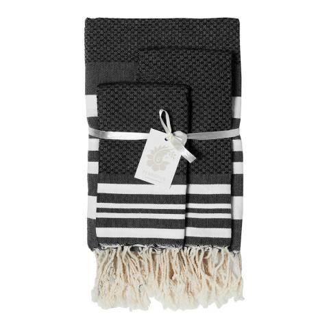 Febronie Hamptons Set of 3 Bathroom Hammam Towels, Black