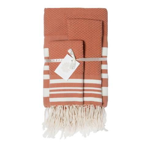 Febronie Hamptons Set of 3 Bathroom Hammam Towels, Terracotta