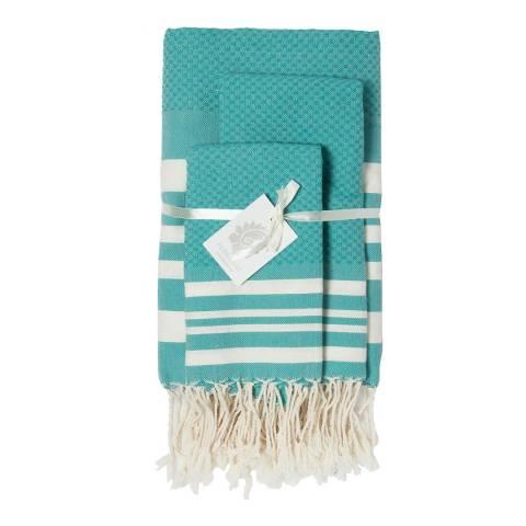 Febronie Hamptons Set of 3 Bathroom Hammam Towels, Vert Canard