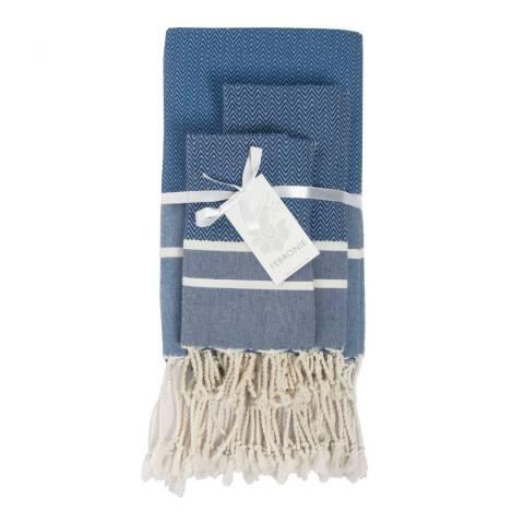Febronie Stockholm Set of 3 Bathroom Hammam Towels, Greek Blue