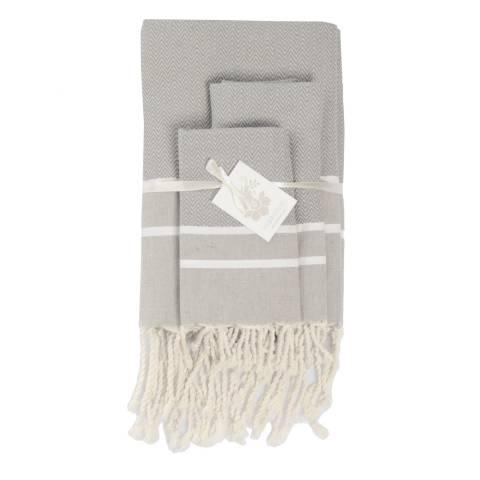 Febronie Stockholm Set of 3 Bathroom Hammam Towels, Pearl