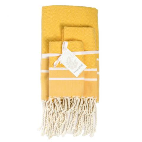 Febronie Stockholm Set of 3 Bathroom Hammam Towels, Saffron