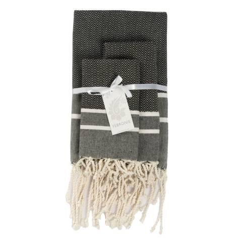 Febronie Stockholm Set of 3 Hammam Towels, Black