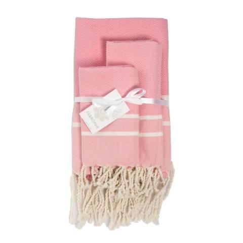 Febronie Stockholm Set of 3 Bathroom Hammam Towels, Pale Pink