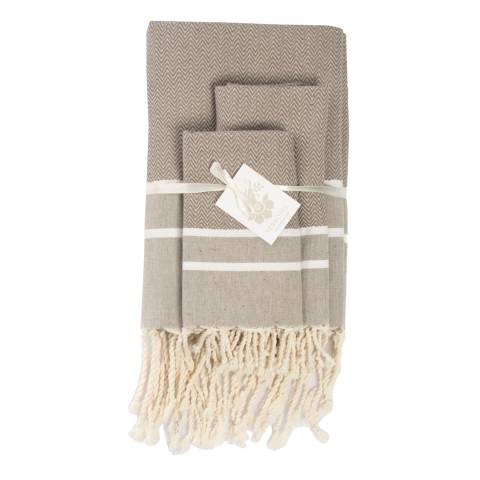 Febronie Stockholm Set of 3 Bathroom Hammam Towels, Taupe