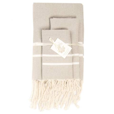 Febronie Stockholm Set of 3 Bathroom Hammam Towels, Light Taupe