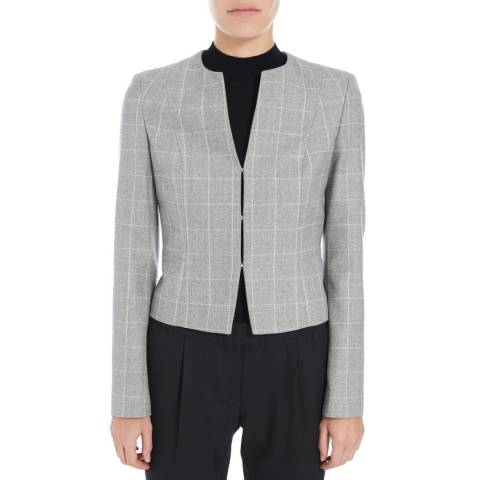 Boss by Hugo Boss Grey Check Jafila Wool Blend Jacket