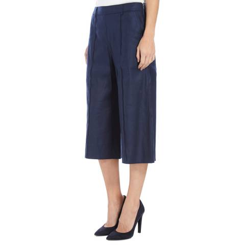 BOSS ORANGE Blue Cropped Sadippy Cotton Blend Trousers