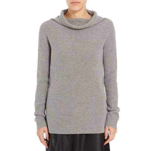 BOSS ORANGE Grey Willimplia Ribbed Wool Blend Jumper