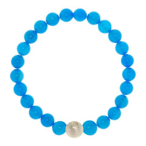 Alexa by Liv Oliver Blue Agate and Matte Sterling Silver Bracelet