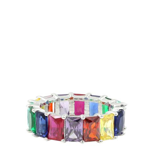 Alexa by Liv Oliver Sterling Silver Multi Colour Zirconia Eternity Band Ring